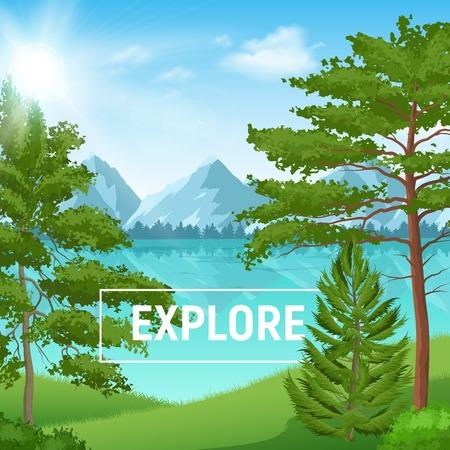 Paesaggio estivo soleggiato con una foresta di pini realistica sul fondo del lago di montagna illustrazione vettoriale