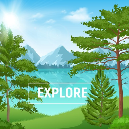 Sunny summer landscape with realistic pine forest on mountain lake background vector illustration
