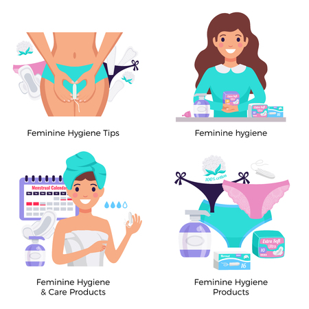 Feminine Hygieneprodukte Tipps 4 flache Zusammensetzung Konzept mit Pads Tampons Höschen Liner Zeitraum Kalender Vektor-Illustration Vektorgrafik