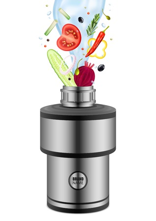 Various eating products with water falling into food waste disposer realistic composition on white background vector illustration Stock Illustratie