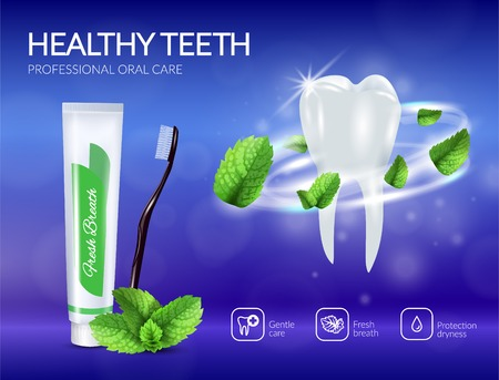 Realistic tooth with swirl from mint leaves and dental care products poster on blue background vector illustration Illustration
