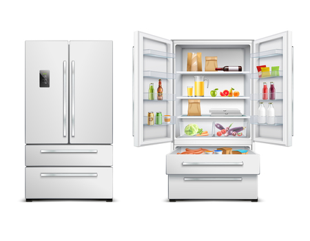 Set of two isolated refrigerator fridge realistic images with two views of opened and closed cabinet vector illustration Çizim