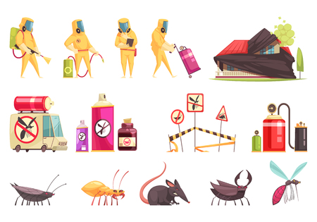 Disinfection pest control set of flat isolated images with insects decontamination equipment items and disinfector characters vector illustration Illustration