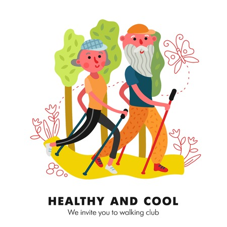 Gezondheidsbevorderende fysieke activiteit voor ouderen nordic walking club uitnodiging advertentie grappige cartoon poster vectorillustratie