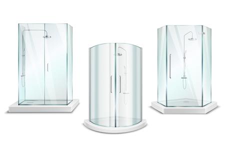 Cabine de douche collection 3d réaliste avec des images isolées d'unités de douche brillantes avec portes sur illustration vectorielle fond blanc Vecteurs