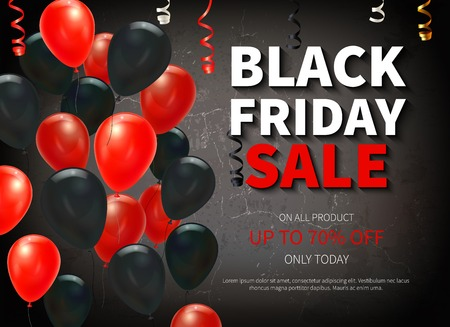Black friday big sale realistic background with colorful balloons vector illustration