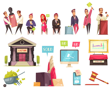 Auction set of isolated human characters and flat images of antiquity with text bubbles and pictograms vector illustration