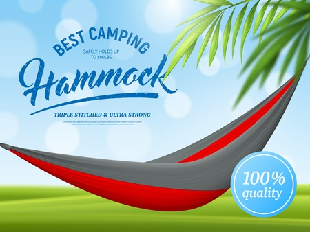 Realistic hammock and palm branch advertising poster on green blue background with bokeh effect vector illustration Illustration