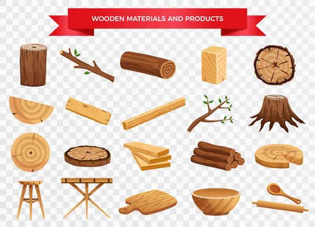 Wood material and manufactured products set with tree trunk branches planks kitchen utensils transparent background vector illustration Illustration