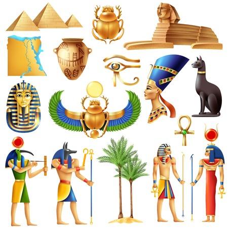 Symboles de l'Égypte dans le style de dessin animé avec les anciennes divinités égyptiennes pyramide ankh tutanhamon nefertiti oeil d'horus signes vector illustration Vecteurs