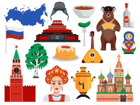 Russland Reisesymbole Traditionen Wahrzeichen flach mit Pfannkuchen Kreml Wodka Bär Borscht Birkenbaum Vektor-Illustration gesetzt