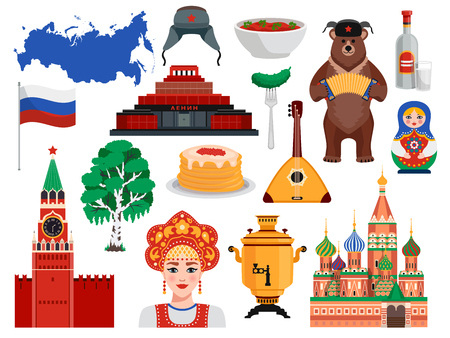 Russia travel symbols traditions landmarks flat set with pancakes kremlin vodka bear borscht birch tree vector illustration Illustration