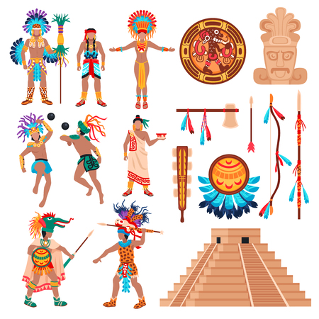 Maya civilization set of isolated ethnic items idols and human characters elements of american tribal culture vector illustration