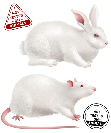 White rabbit and rat realistic icons and stamps with text not tested on animals vector illustration
