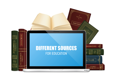 Education books in hard cover and laptop with lettering on blue screen 3d vector illustration 写真素材 - 109487099