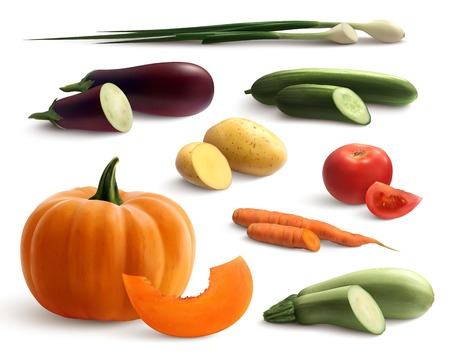 Cutted vegetables  set of carrot  pumpkin cucumber eggplant  zucchini potato onion realistic icons isolated vector illustration