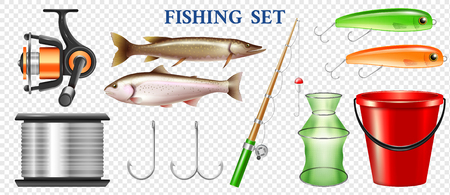 Set of realistic fishing elements with tackles rainbow trout and pike isolated on transparent background vector illustration