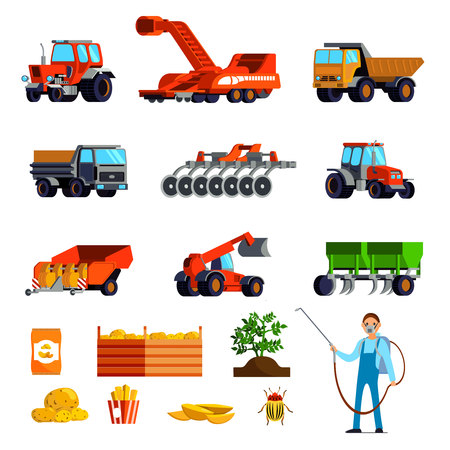 Potato cultivation flat icons set with plant and tubers pest control and agricultural vehicles isolated vector illustration Illustration