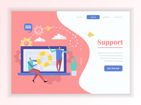 Customer support service online help web landing page with buttons menu on colorful background flat vector illustration