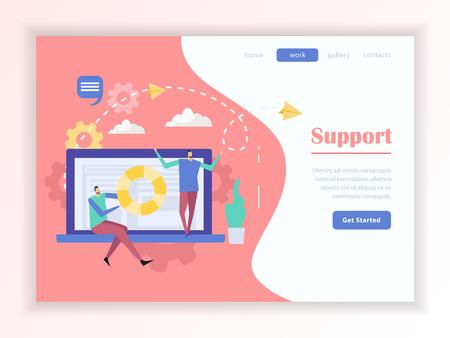 Kundenunterstützungsservice Online-Hilfe Web-Landingpage mit Schaltflächenmenü auf buntem Hintergrund flache Vektor-Illustration