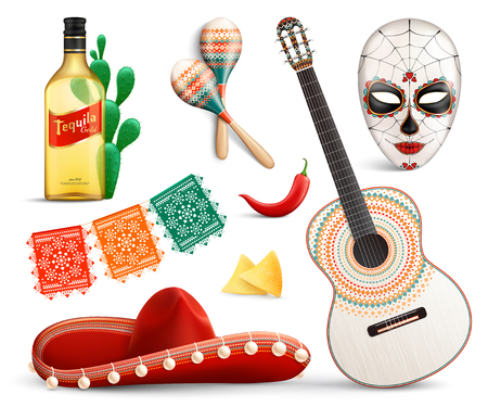 Mexico realistic set of carnival mask sombrero  tequila traditional festival symbols guitar and other music accessories vector illustration
