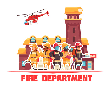 Firefighter composition with text and flat images of fire station building and helicopter with human characters vector illustration Illustration
