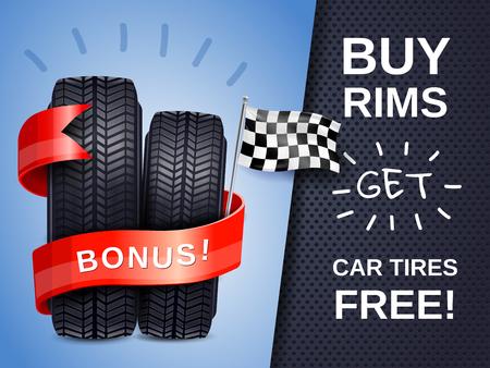 Neumáticos de coche realistas como presentes para comprar carteles publicitarios de llantas con ilustración de vector de bandera de carreras
