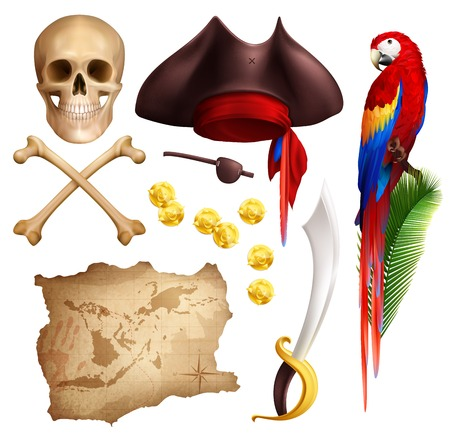 Pirate realistic icons set of aged map gold coins smoking pipe saber parrot skull and pirate hat isolated vector illustration Standard-Bild - 109487155