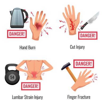 Advertencia de lesiones de partes del cuerpo humano 4 composiciones planas establecidas ilustración de vector de tensión de madera de fractura de dedo de quemadura de mano Ilustración de vector