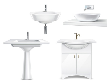 Bathroom objects realistic 3d collection with isolated images of white ceramic fitments for bath and toilet vector illustration Stock Illustratie