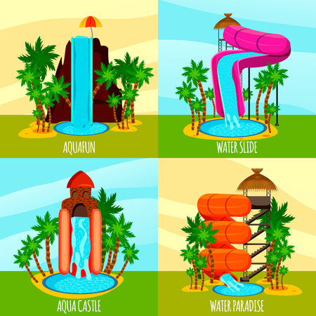 Aqua park flat design concept with theme water slides pools and palm trees isolated vector illustration