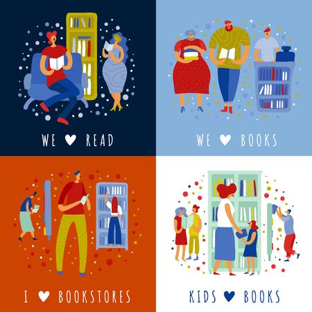 Menschen Erwachsene und Kinder im Buchladen während des Lesens und des Literaturkaufs Designkonzept isolierte Vektorillustration Vektorgrafik