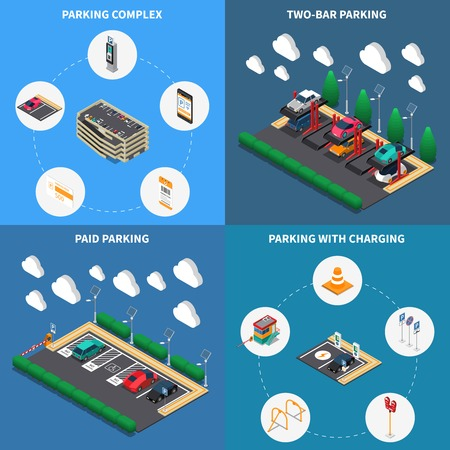 Parking lots facilities concept 4 isometric compositions icons square with charging stalls multi level complex vector illustration