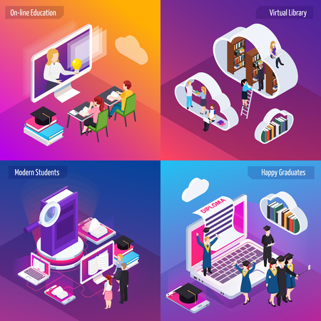 Distance education 4 glow isometric compositions set with e-learning virtual library vibrant colors background vector illustration