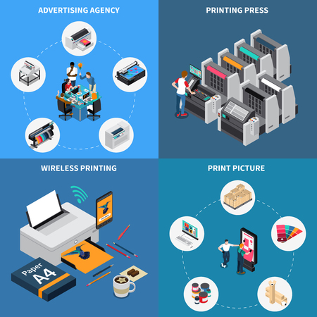 Advertising agency printing house concept 4 isometric compositions with digital technology creating pictures press device vector illustration Vectores