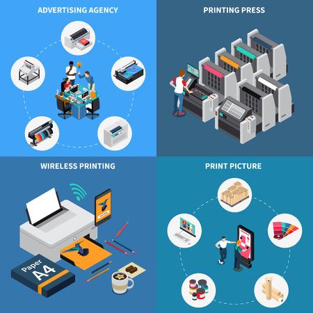 Concepto de la casa de impresión de la agencia de publicidad 4 composiciones isométricas con tecnología digital que crean imágenes, ilustración de vector de dispositivo de prensa Ilustración de vector