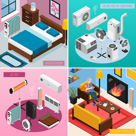 Smart home climate concept 4 isometric interior compositions with automated heating radiator air conditioner fireplace vector illustration