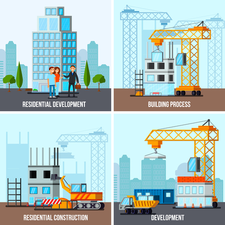 Sky scraper construction flat design concept with house building process and residential development isolated vector illustration Ilustração