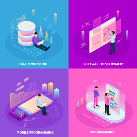 Freelance programming isometric 2x2 design concept with human icons and infographic images with editable text captions vector illustration