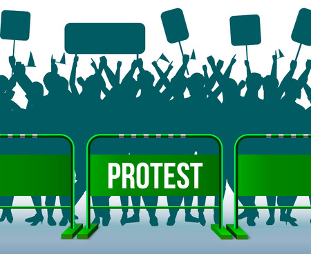 Green style temporary fencing barrier protesting crowd composition crowd of people standing behind barriers with signs vector illustration Banco de Imagens - 109843030