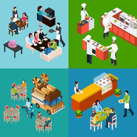 Concepto de diseño isométrico de restaurante con camareros y chefs de clientes en la ilustración de vector aislado de comida callejera de cocina