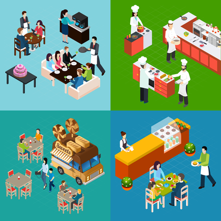 Restaurant isometric design concept with waiters and customers chefs at kitchen street food isolated vector illustration Illustration