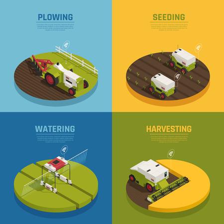 Automazione agricola agricoltura intelligente 2x2 concetto di design con testo modificabile e immagini di mietitrebbiatrice illustrazione vettoriale Vettoriali