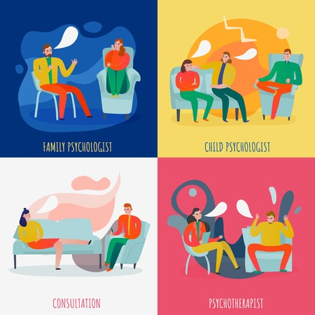 Psychotherapist and psychologist concept icons set with help and treatment symbols flat isolated vector illustration