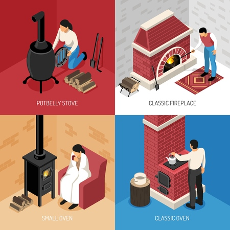 Classic fire place potbelly stove and various ovens isometric design concept isolated on colorful background vector illustration