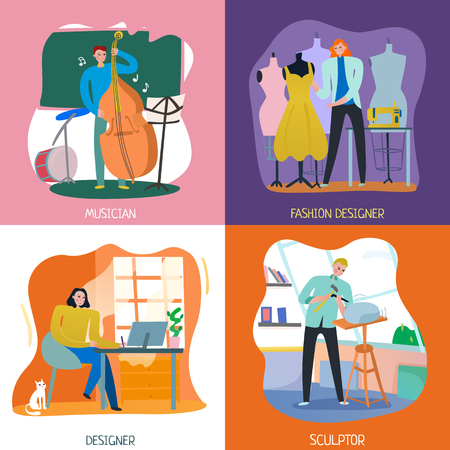 Flat design 2x2 concept with people having various creative professions isolated vector illustration Illustration