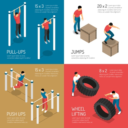 Workout at sports street equipment jumps and wheel lifting isometric design concept isolated vector illustration