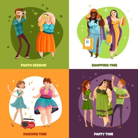 Mujeres de talla grande durante la fiesta de compras de la sesión de fotos y el concepto de diseño de baile aislado ilustración vectorial Ilustración de vector