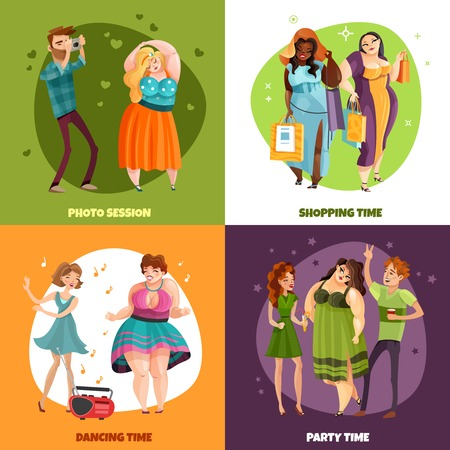 Plus size women during photo session shopping party and dancing design concept isolated vector illustration