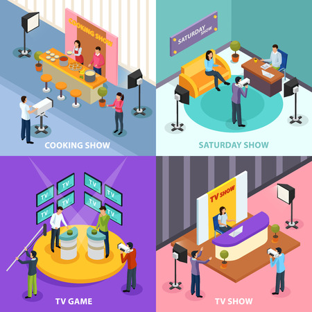 Isometric quiz tv show 2x2 design concept with human characters and indoor interiors of television studio vector illustration